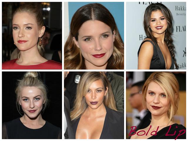Soft face, Bold Lip: Kristin Cavallari, Selena Gomez, Julianne Hough, Sophia Bush, Kim Kardashian, Claire Danes