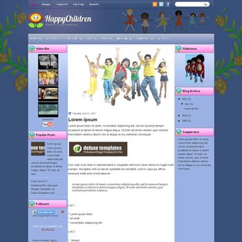 HappyChildren blogger template. template blogspot magazine style. download free template for children blogger