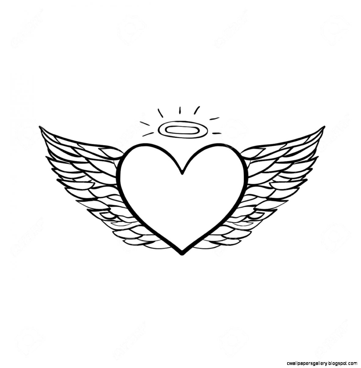 Vector Hand Drawn Flying Angel Heart Black Sketch On White