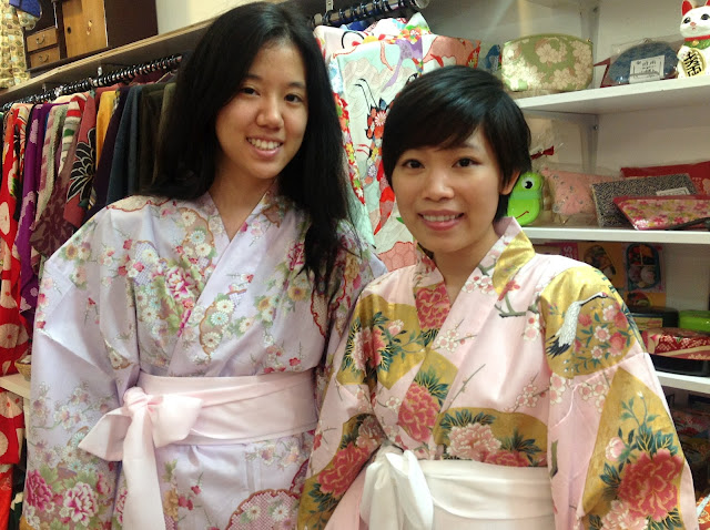 Two young ladies wearing cotton Kimonos from Kimono House NY
