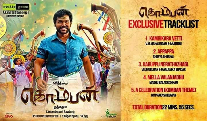 Karthi's Komban Tamil Movie Official Audio Track List