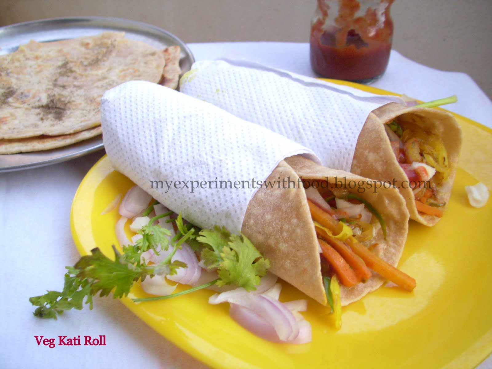 My experiments with food vegetable kathi roll it is said that kati is known as stick and the roti or flat bread is stuffed with tasty stuffings and rolled in the shape of a cigar that makes it easy forumfinder Image collections