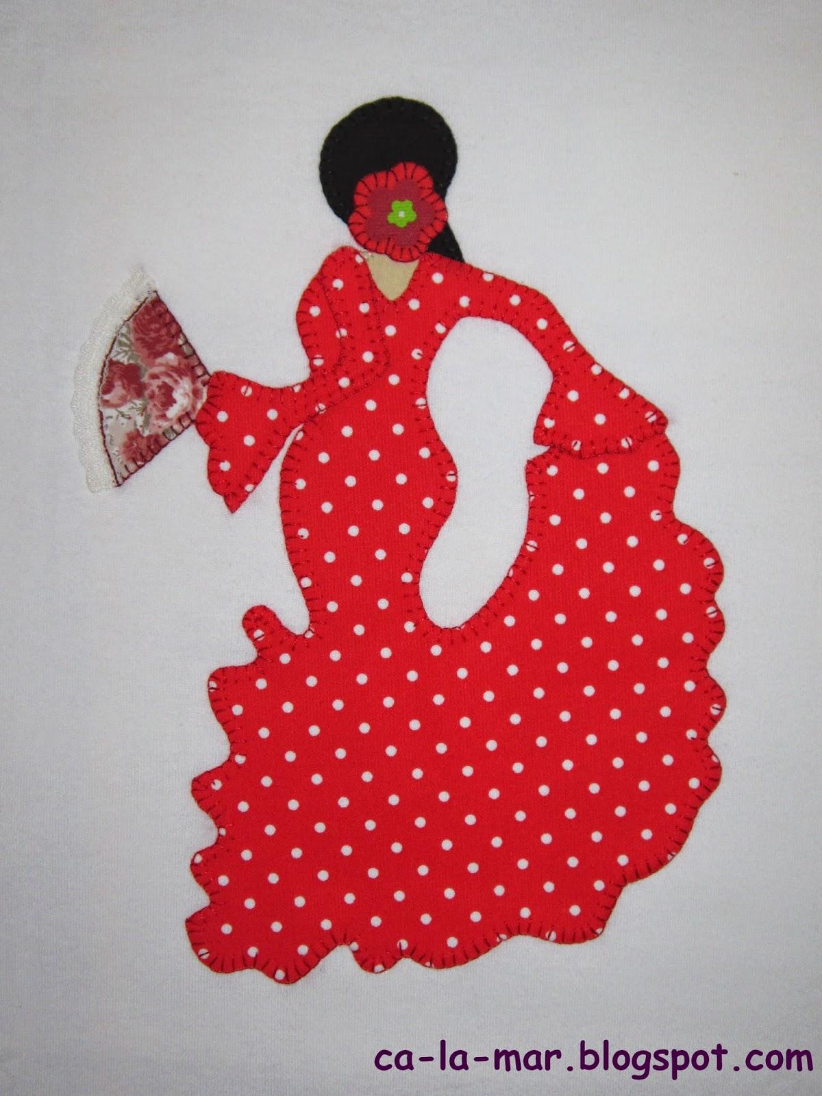 Ca la mar patchwork camiseta con flamenca - Apliques de pared originales ...