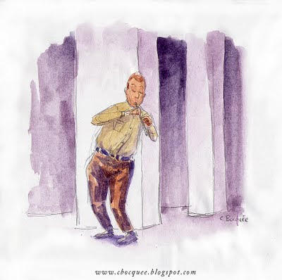 Watercolour illustration of a flute player