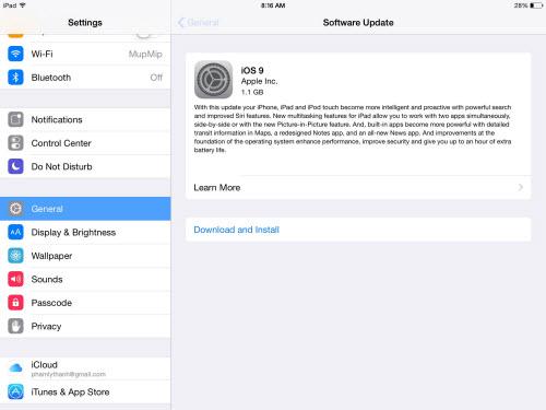 Cập nhật iPhone, iPad lên iOS 9 cải thiện pin thêm 1h