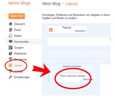 Screenshot Layout-Einstellungen in Blogger