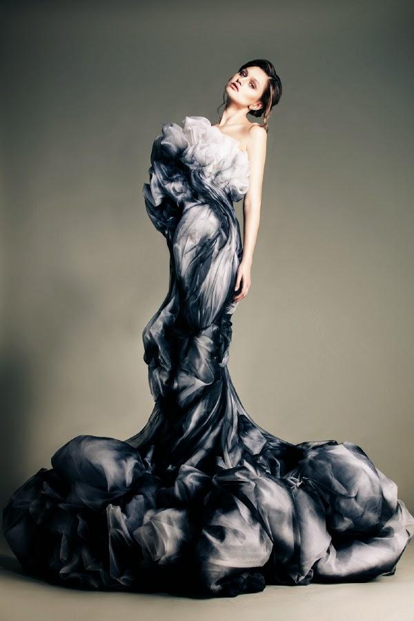robe fumée haute couture jean louis sabaji , robe et art contemporain haute couture et artisanat . Défilé de mode LEZEM organisation a but non lucratif pour la jeunesse libanaise