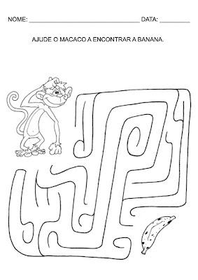 Atividades para Educação Infantil - Ajude o macaco