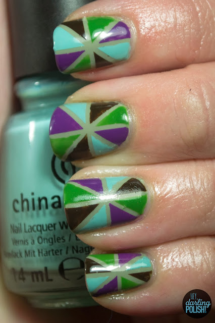 nails, nail art, striping tape, triangles, shapes, green, china glaze for audrey, purple, brown, hey darling polish