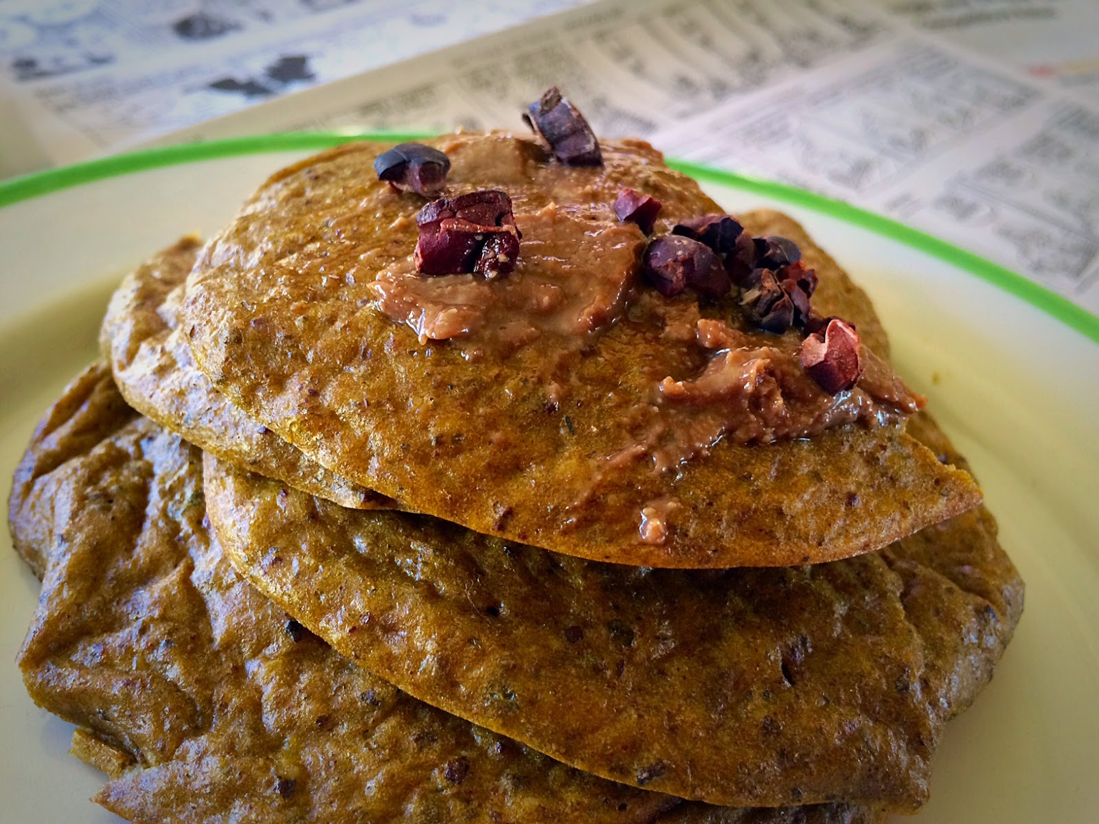 Cacao Chia Protein Pancakes with topping