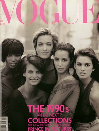 naomi campbell vogue cover. 90s supers: Naomi, Linda,