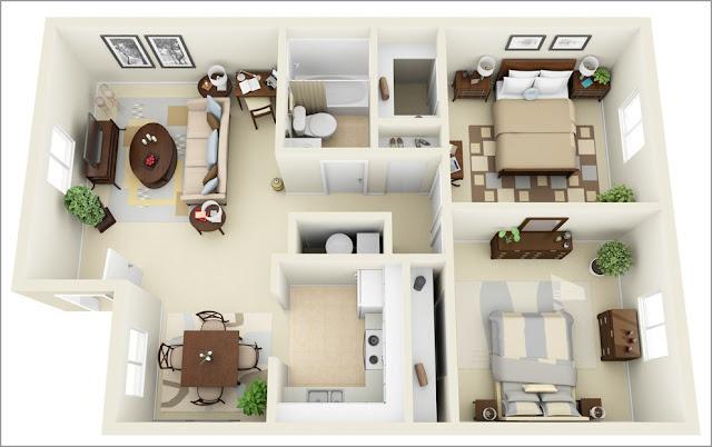 Mẫu căn hộ 2 phòng ngủ hiện đại