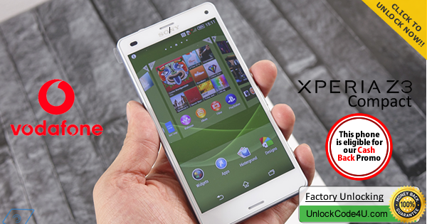 Factory Unlock Code for Sony Xperia Z3 Compact from Vodafone