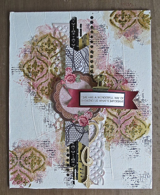 mixed media canvas by Megan Gourlay for BoBunny using Love & Lace