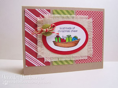 Boat Christmas card using SEAson's Greetings Stamp set from Newton's Nook Designs.