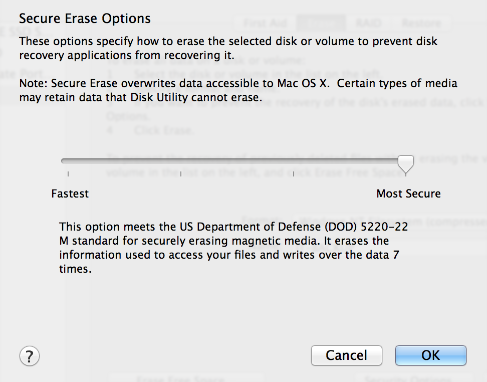 Secure Erase Options on OS X