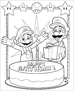 mario coloring pages happy birthday