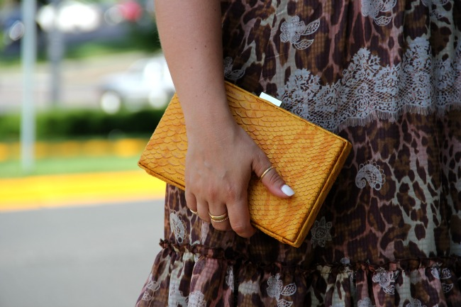 Yellow Faux Snake-Skin Clutch from TJ Maxx and Animal Print Dress for Summer