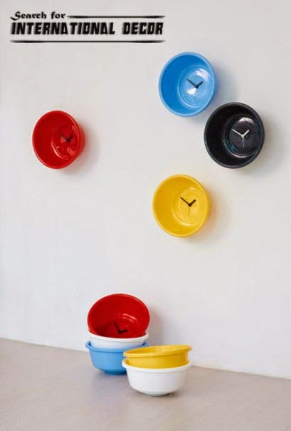 diy wall clock, cool wall clocks,creative wall clocks,bowls kitchen wall clock