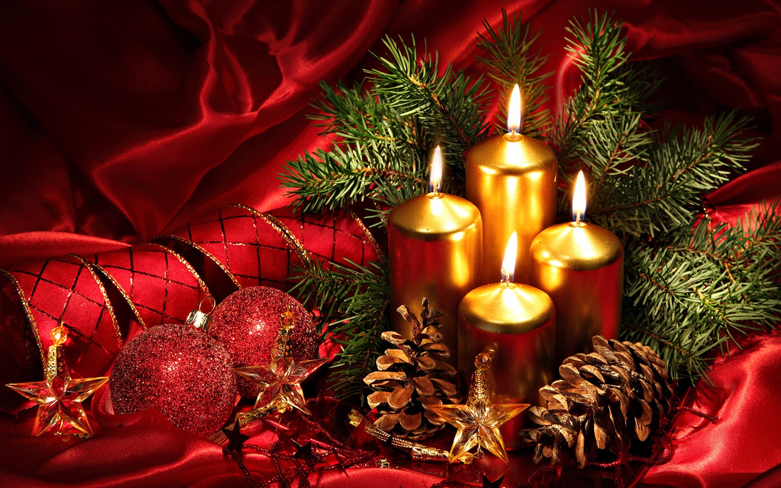 Christmas landscapes wallpaper christmas candles for Christmas landscape images