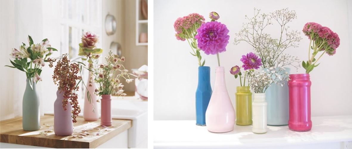 Botellas y tarros de cristal para colocar flores