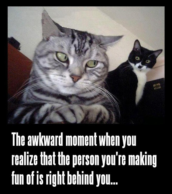 That Awkward Moment When You Realize That The Person You're Making Fun Of Is Right Behind You