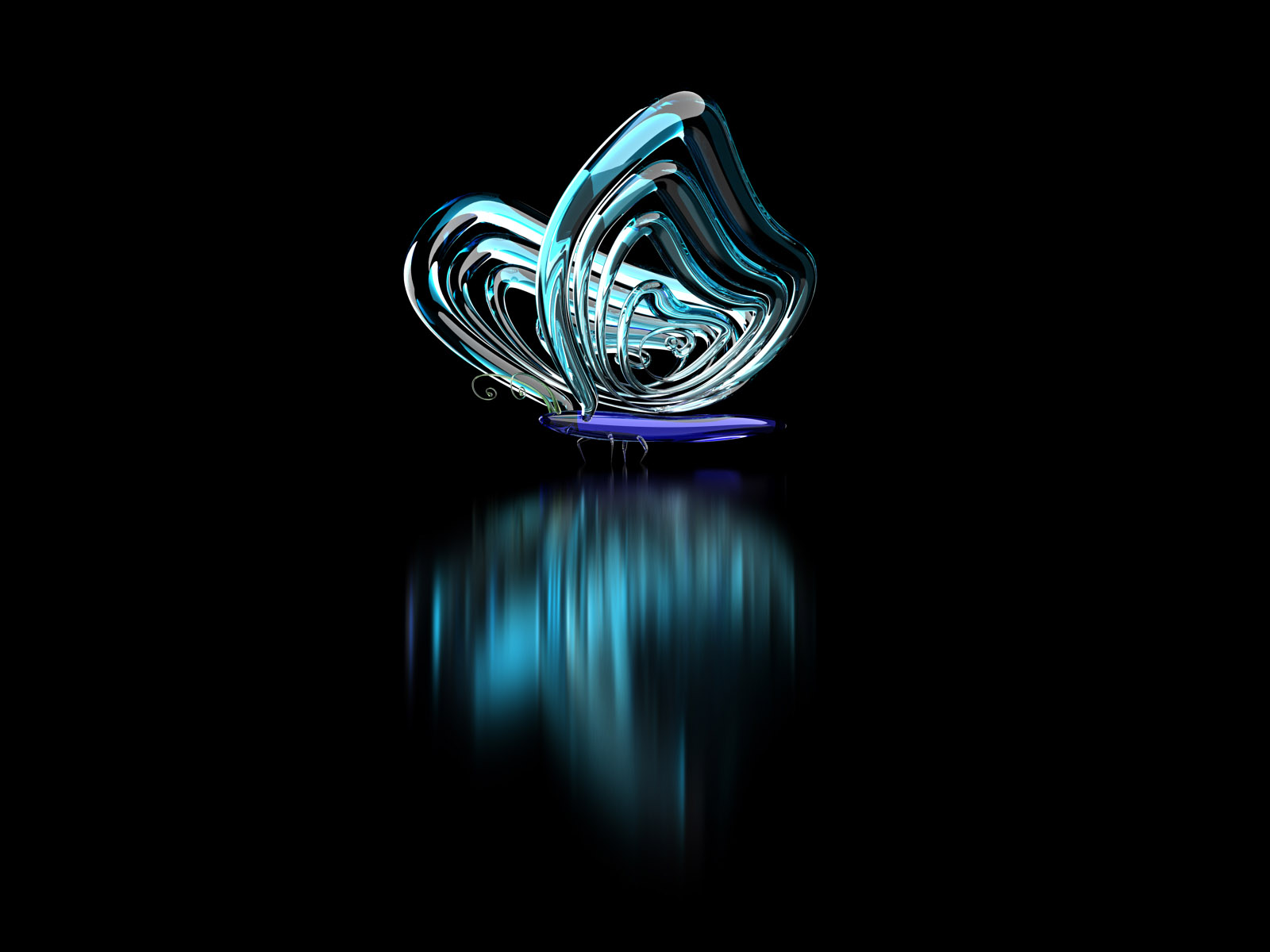 3D Butterfly Reflection Normal HD Wallpaper