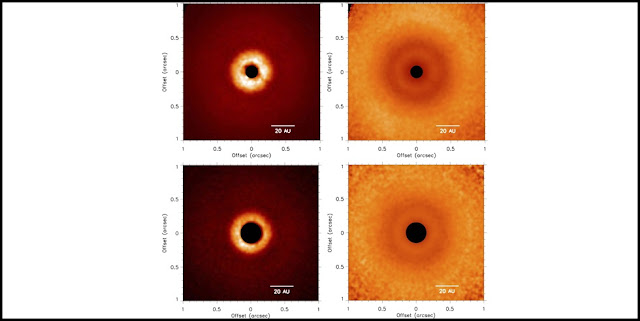 Left: GPI J band (top) and K1 band (bottom) polarized intensity (Qr) images of the TW Hya disk. Right: Qr(i; j) scaled by r2(i; j), where r(i; j) is the distance (in pixels) of pixel position (i; j) from the central star, corrected for projection effects. All images are shown on a linear scale. The coronagraph is represented by the black  filled circles and images are oriented with north up and east to the left. Credit: gemini.edu