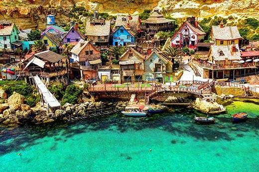 Popeye Village, North-west corner of the Mediterranean Island of Malta