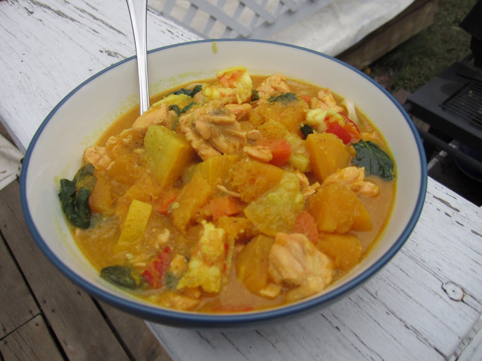 based on Nigella Lawson's Thai yellow pumpkin and seafood curry
