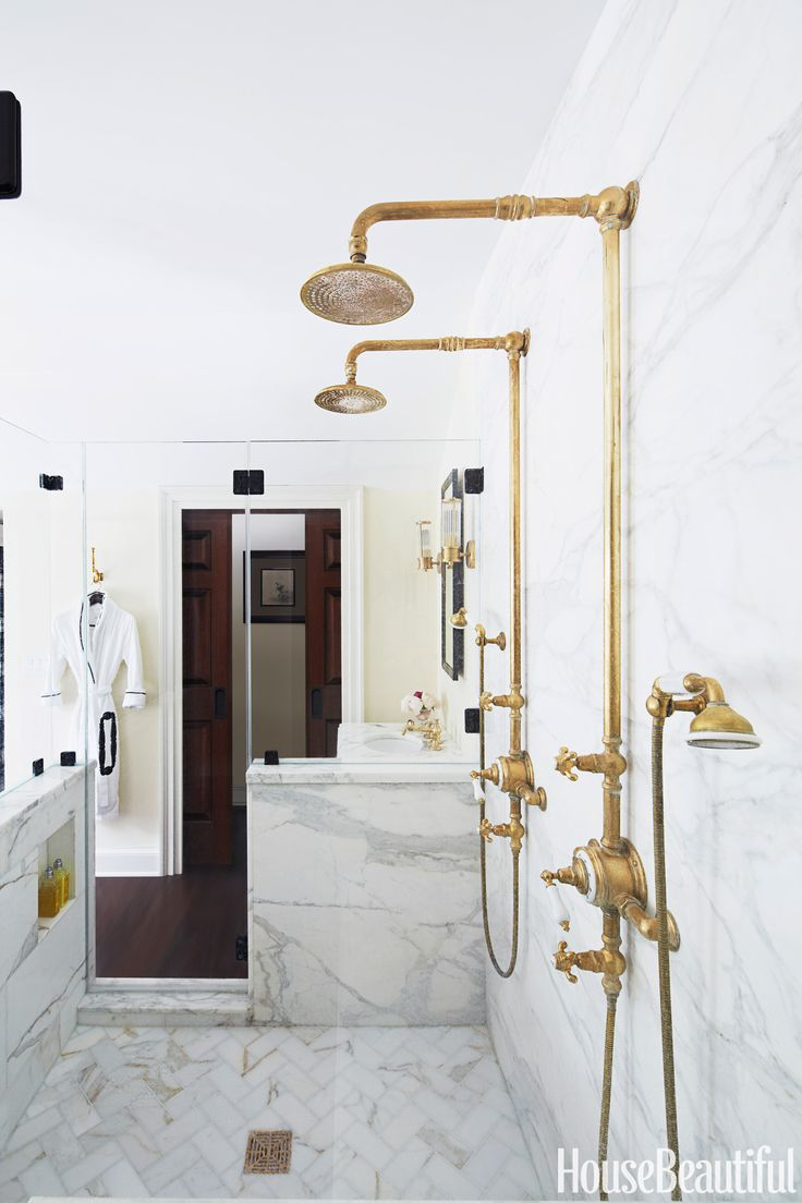 Marble and brass bathroom shower