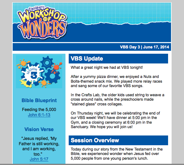 Dancing Commas :: Workshop of Wonders VBS :: Summary of night sent to parents by email
