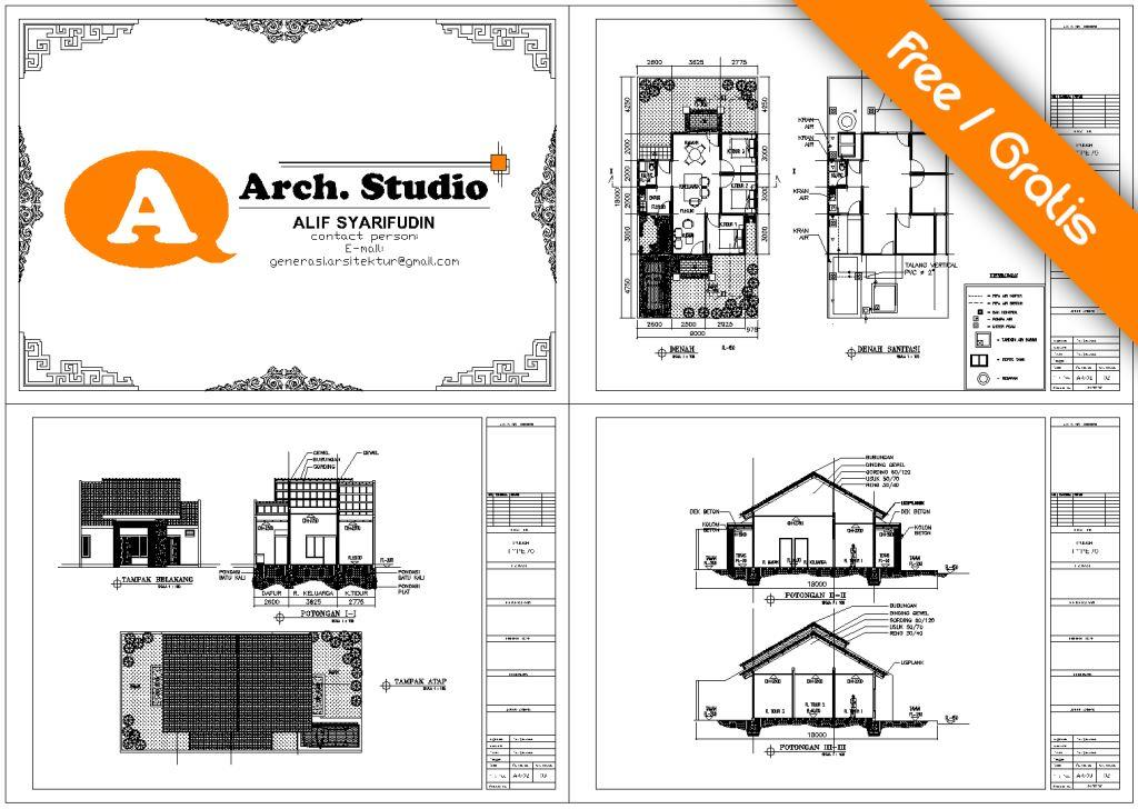 download gambar kerja rumah type 70 dwg pdf gratis