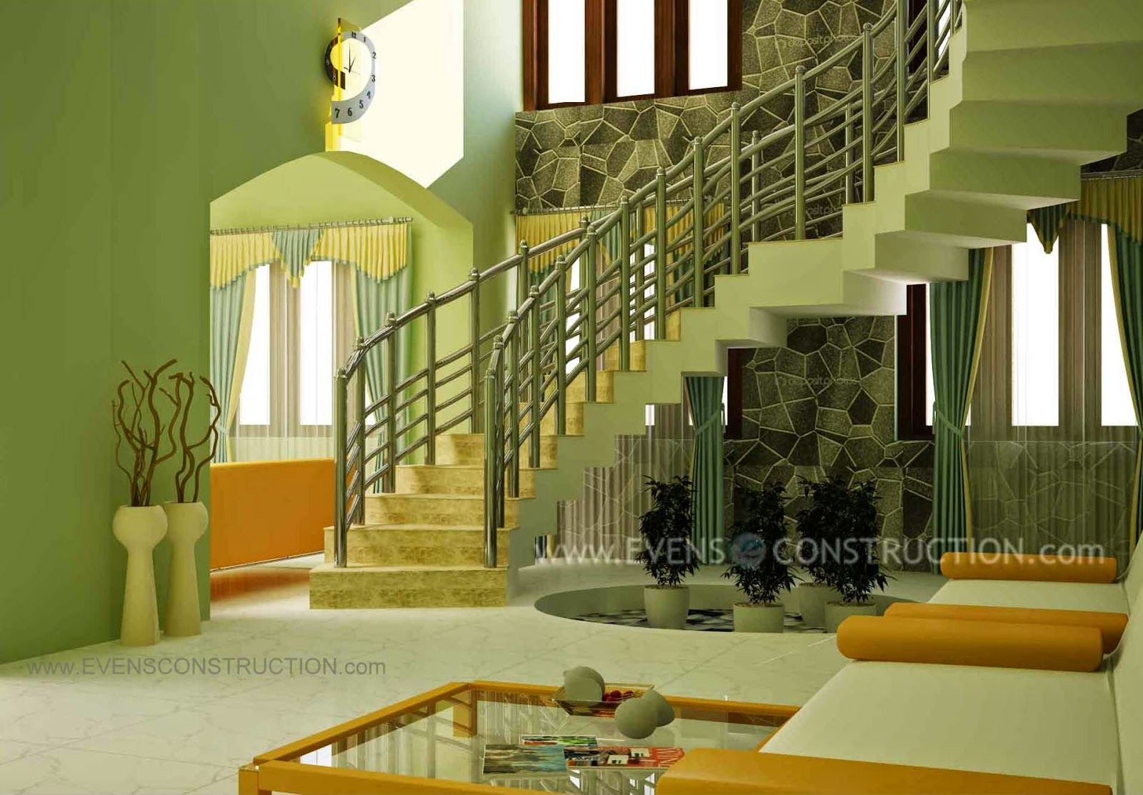 Staircase design for modern kerala home living room for Interior design ideas for small homes in kerala