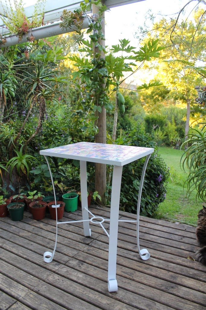 Galvanized And Powder Coated Metal Table Frame By CX Steel, With 9mm  Waterproofed Fibre Cement Board And Mosaic Leaf Tiles
