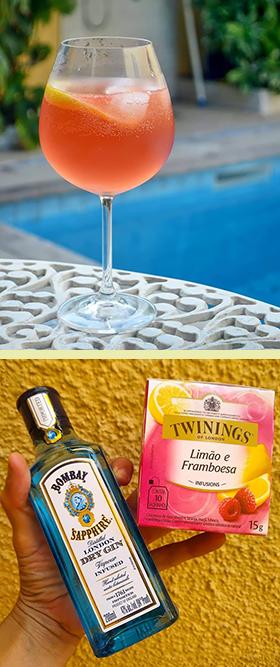 Gin Tônica de limão siciliano com framboesa para refrescar
