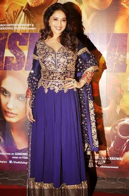 1828-Madhuri Dixit Nene in Blue Anarkali Suit At Dedh Ishqiya Premiere