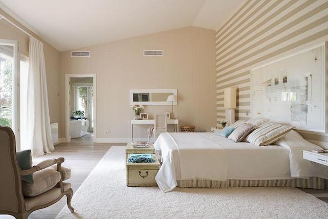 dormitorio en azul y beige