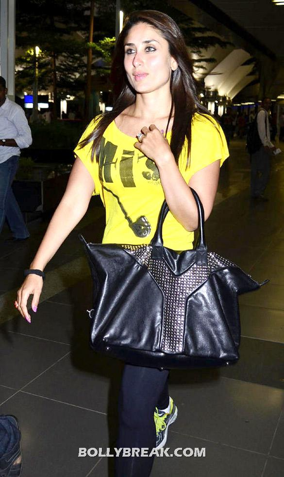 Karina Kapoor in Yellow Tank Top, Black Tight Slacks at Airport - Karina Kapoor spotted at the International Airport