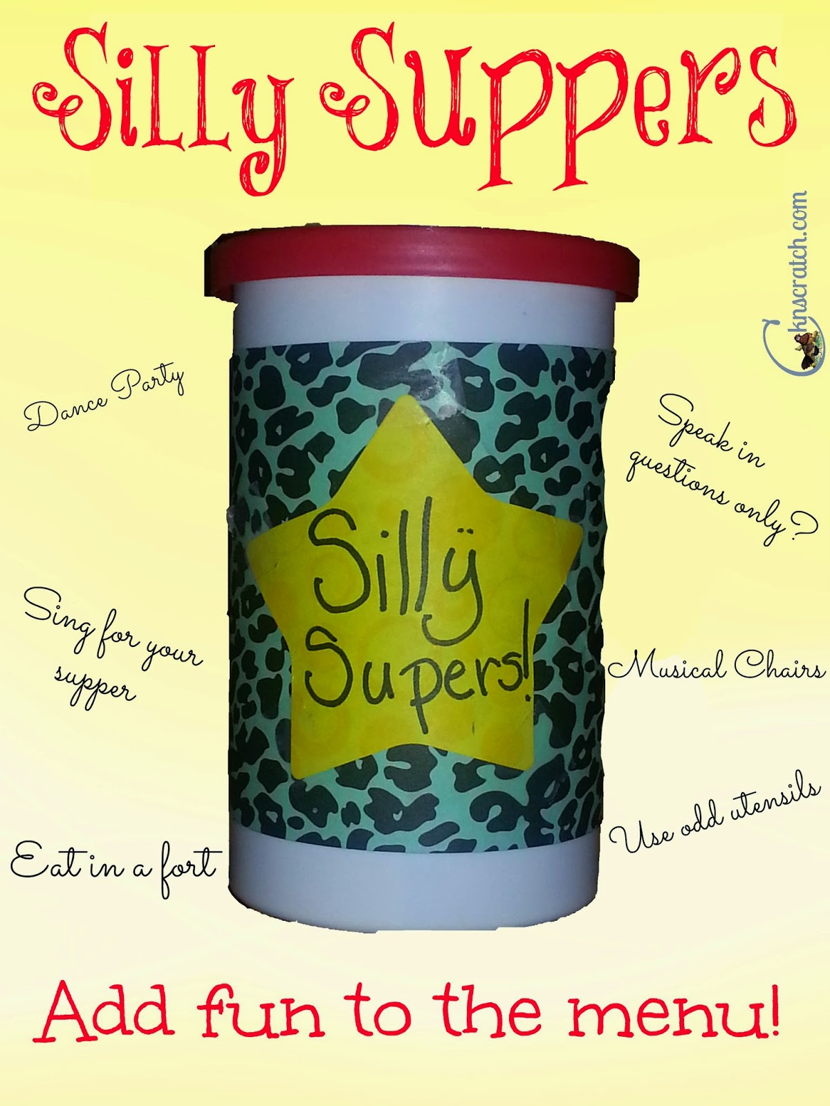 How to be a fun mom - have silly suppers.  Guest post by Camille Gillham @ ATIPicalDay #sillysuppers #kidactivities #bathroomfun