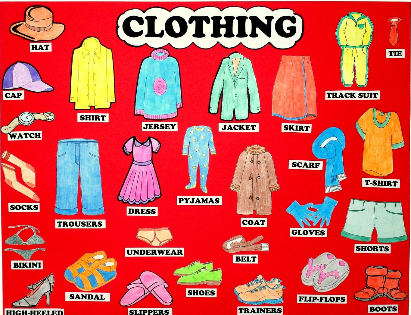Clothes in english names