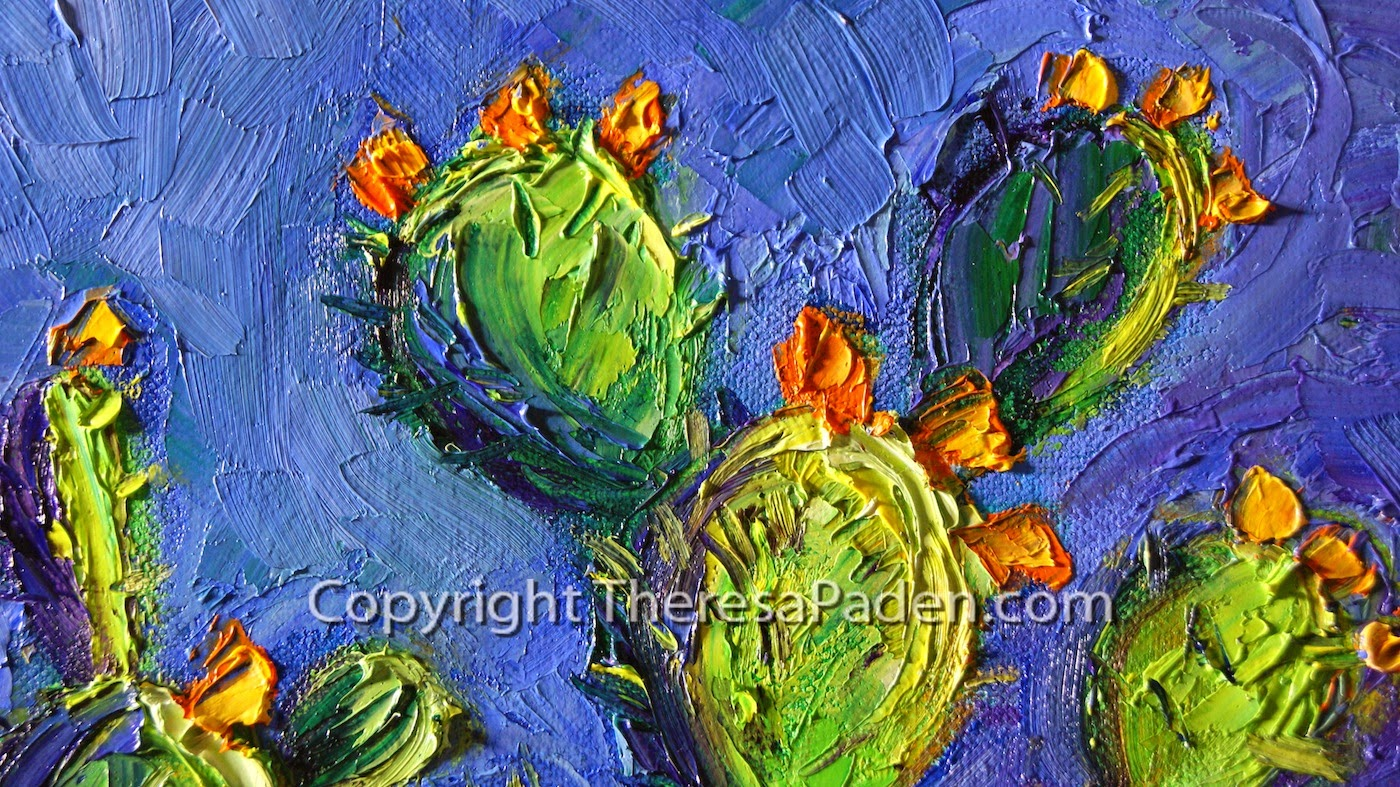 colorful southwestern art desert cactus painting with