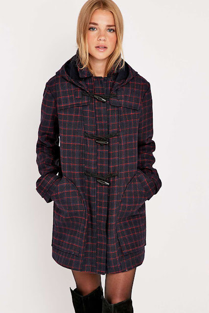 urban outfitters check coat, navy check duffle coat,
