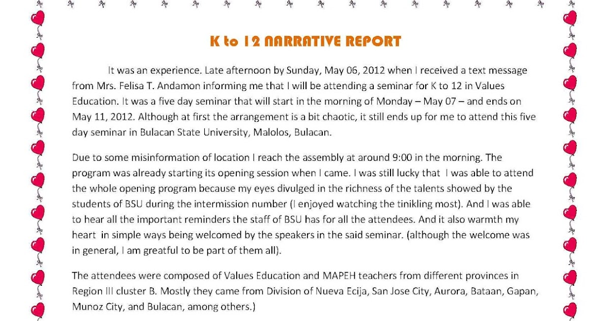 iRonicAlly tiTled: K to 12 - 5day seminar Narrative Report...