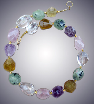 Crystal Amethyst and Cotton Pink Quartz Necklace