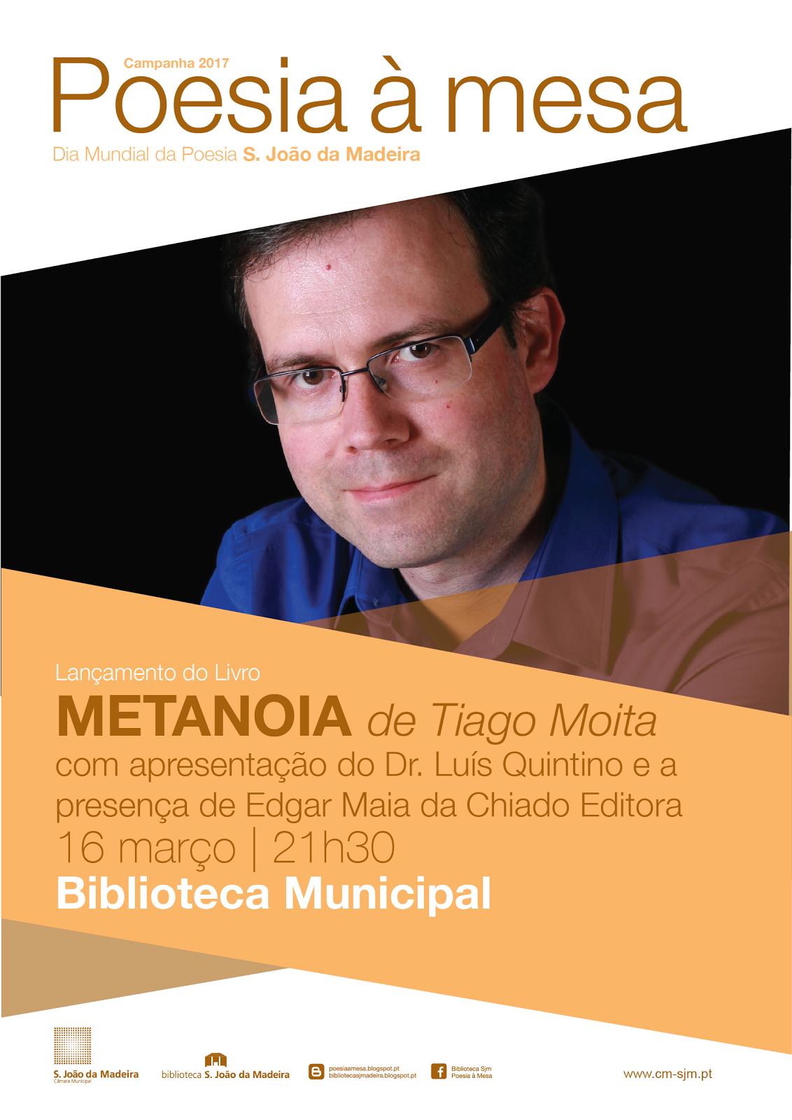 """LANÇAMENTO DO LIVRO """"METANOIA"""", 21h30, Biblioteca Municipal"""