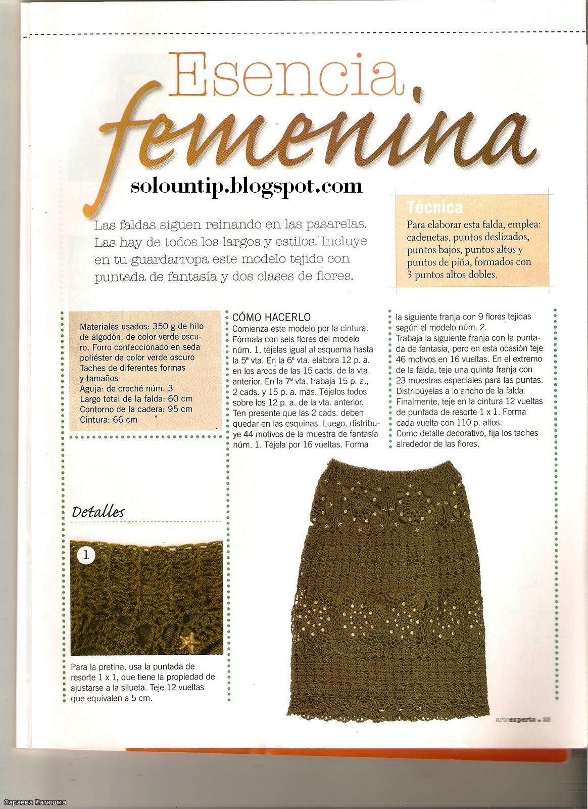 falda larga a crochet