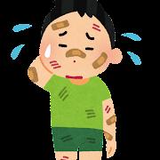 怪我をしている男の子のイラスト