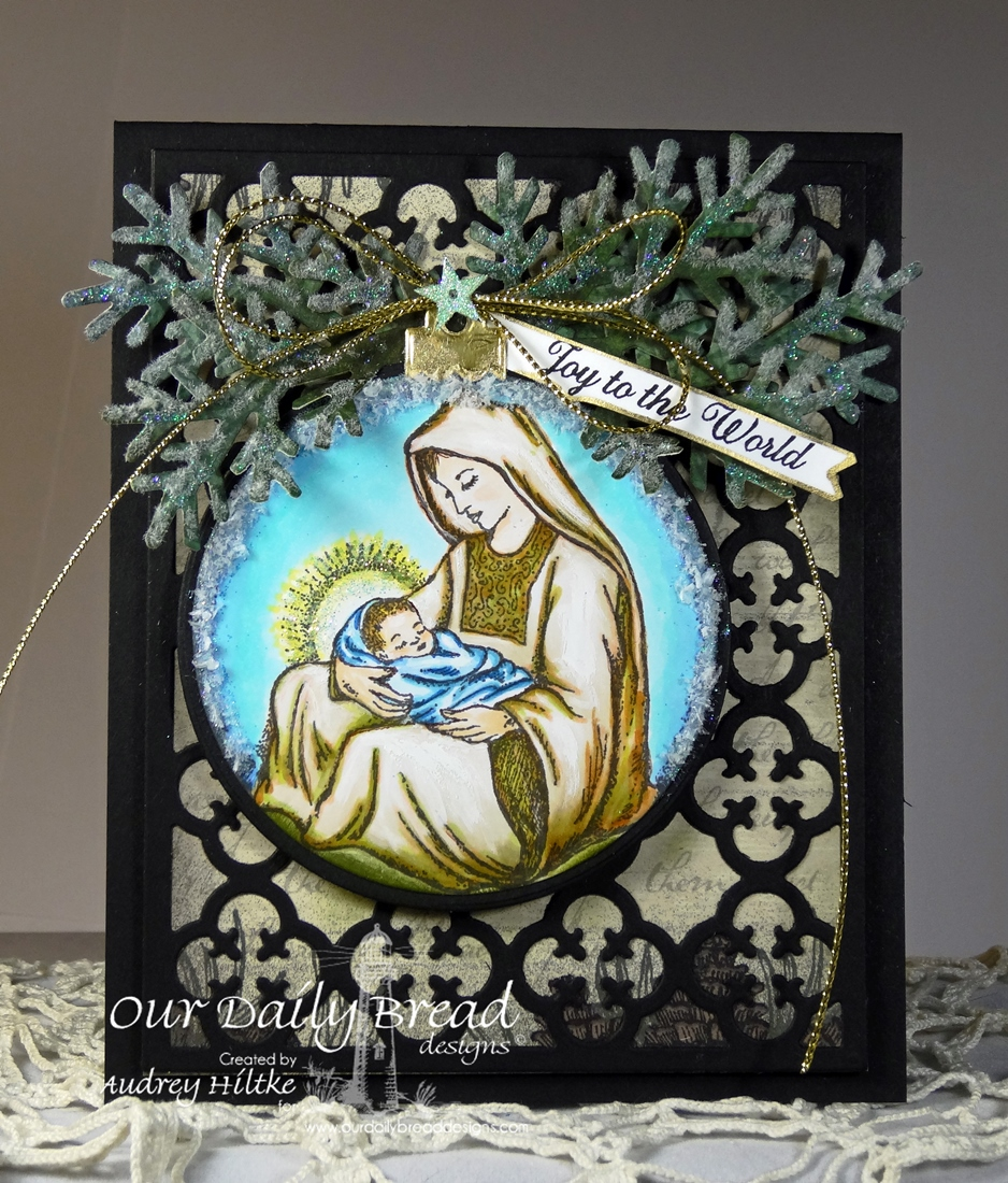 Stamps - Our Daily Bread Designs Mother and Child Ornament, Noel Ornament, ODBD Custom Circle Ornament Dies, ODBD Custom Matting Circle Dies, ODBD Custom Fancy Foliage Die, ODBD Custom Quatrefoil Pattern Die
