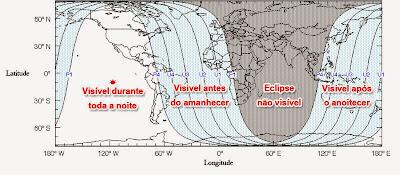 Visibilidade Eclipse Lunar e Lua de Sangue abril de 2014